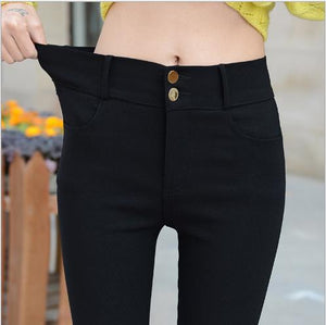 Black 2018 New Spring Elegant Women's OL Work Wear Slim Stretch Pencil Pants Trousers Leggings For Women Female Plus Size E938-geekbuyig