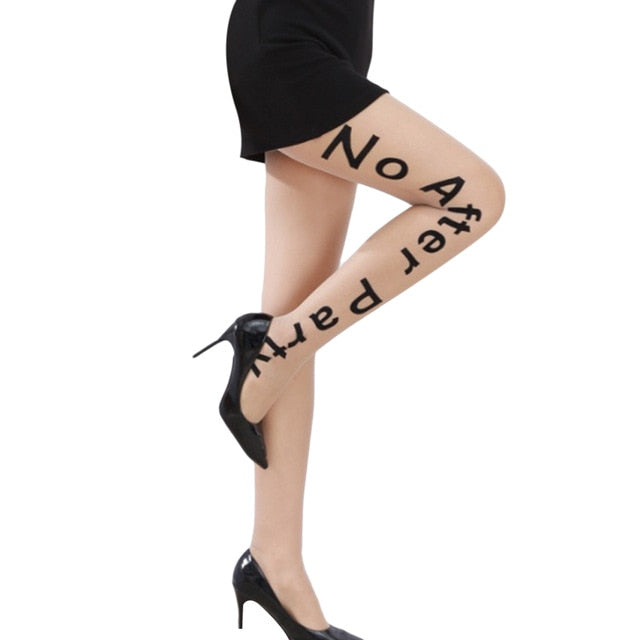 Hot Sexy Letter Tattoo Tights Women No After Party Pantyhose Black Elastic Skinny Legs Silk Stockings Nylons Lady Collant Medias-geekbuyig