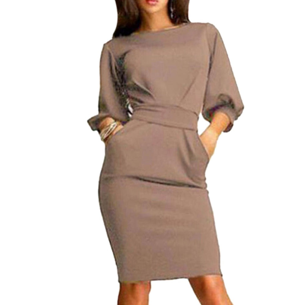 Hot 2018 Women Work Dress Autumn Summer Half Sleeve O-Neck Elegant Ladies Bodycon Bandage Slim Sashes Dresses Vestidos-geekbuyig