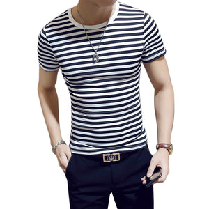 2018 Men T Shirt Fashion Short Sleeve Slim Fit Striped Tops Black White O-Neck Male T-Shirt Tee Plus Size Tshirt Tee Shirt Homme-geekbuyig