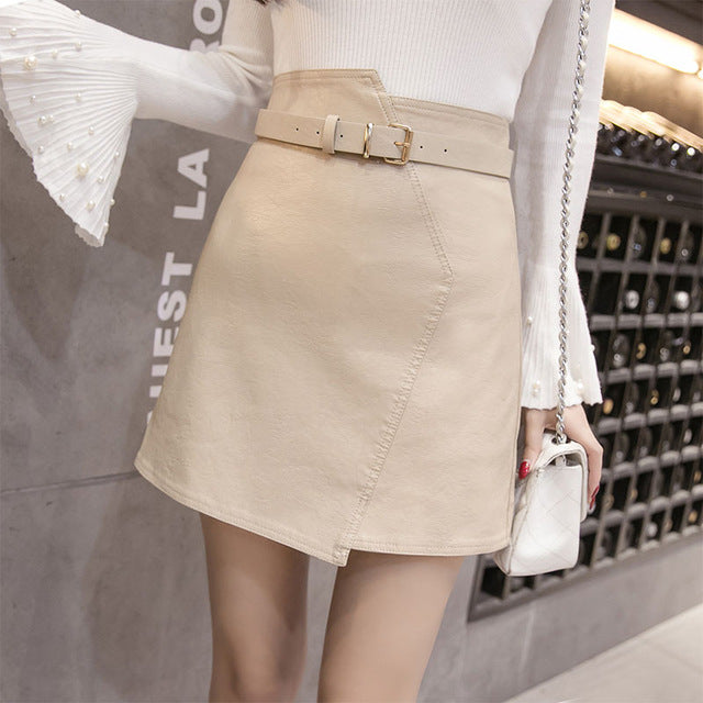 Women's A Line Leather Skirt 2018 New Autumn Winter Irregular Soft PU Mini Skirts Female High Waist Slim Shorts Saias with Belt-geekbuyig
