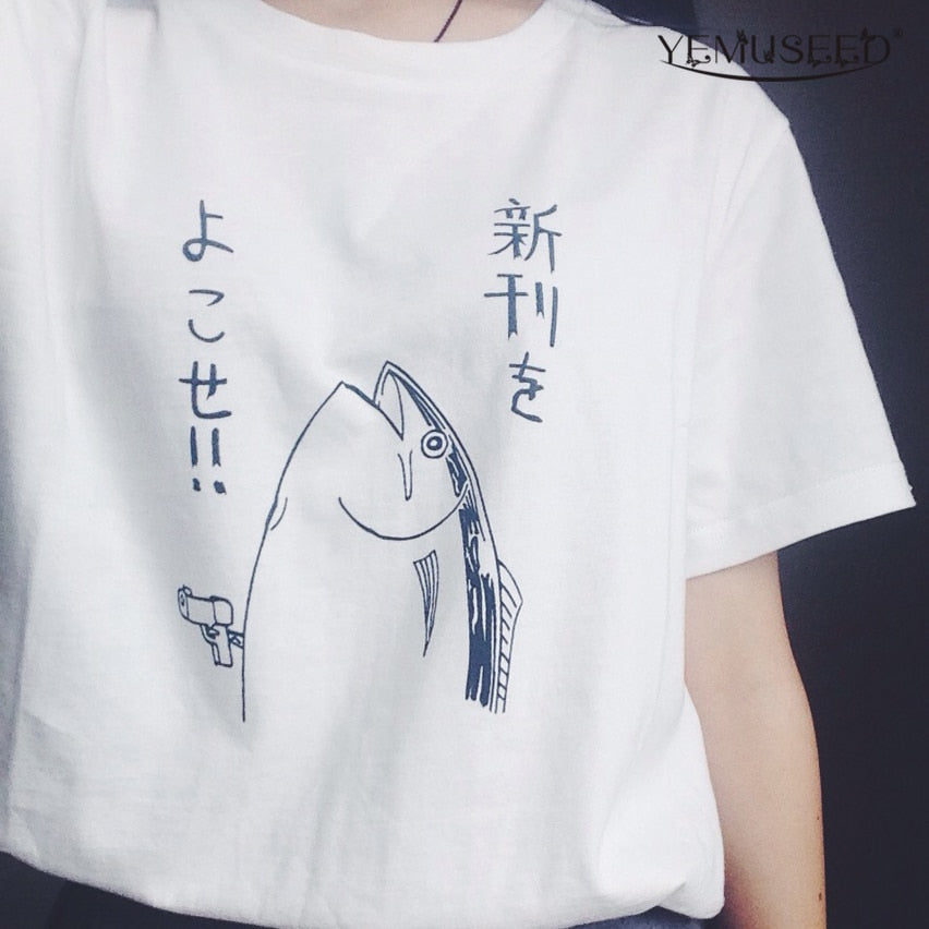 New summer fashion cute basic fish pattern Japanese style HALAJUKU wild funny short sleeve o-neck women White T-shirt-geekbuyig