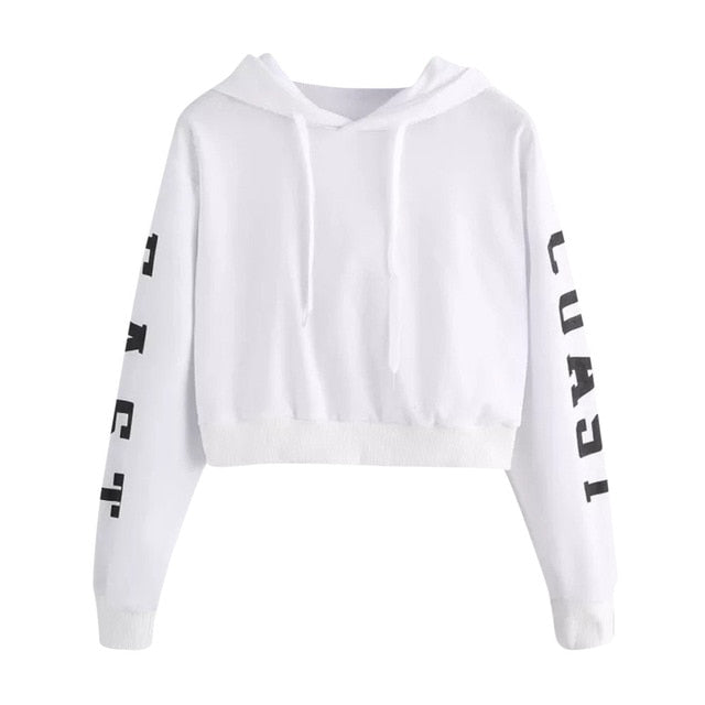 ISHOWTIENDA Sweatshirt Women 2018 Crop Top Letter Black Plus Size Autumn Winter Coat Pullover Sweat Femme Sudadera Mujer-geekbuyig