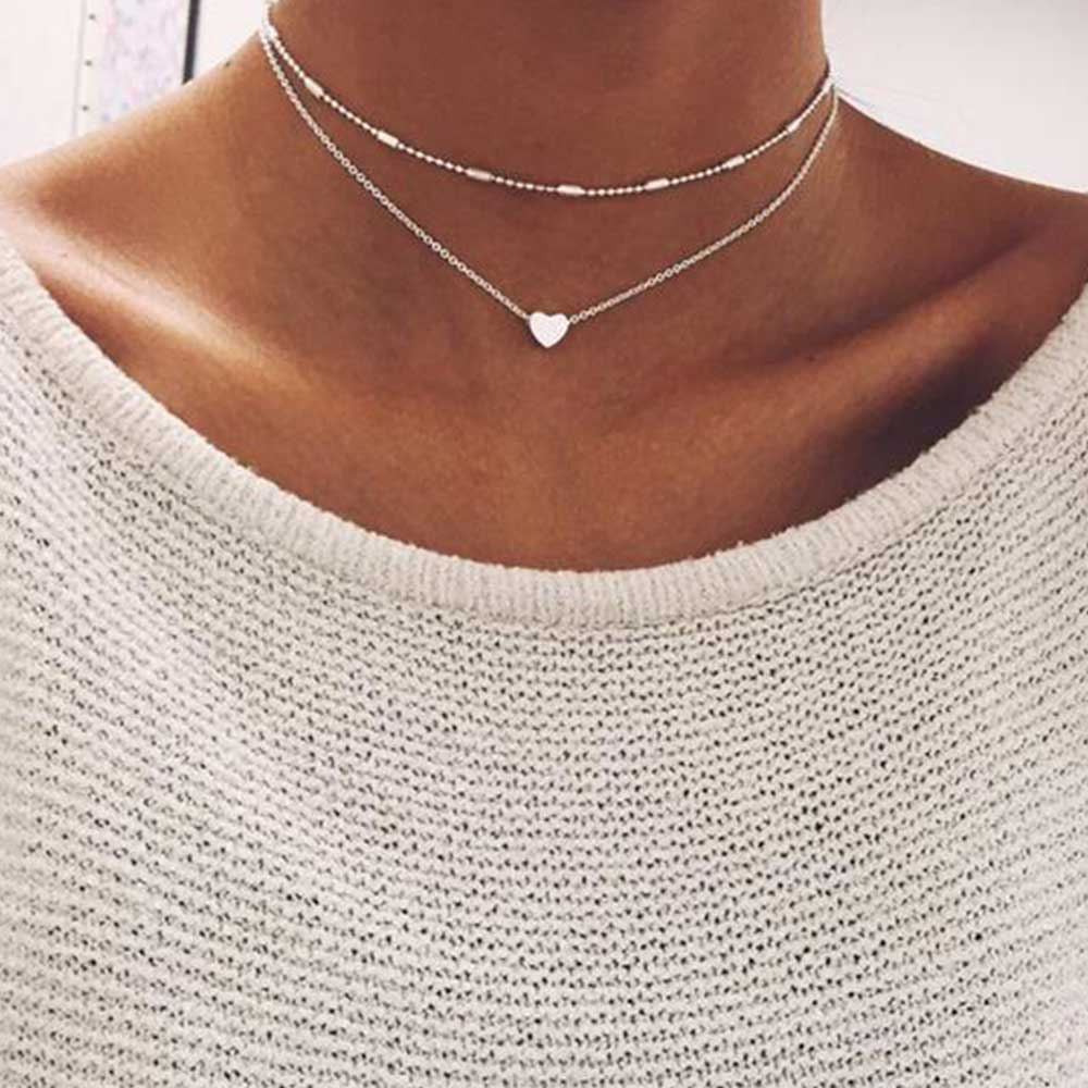 FAMSHIN Fashion Gold Silver Color Jewelry Love Heart Necklaces & Pendants Double Chain Choker Necklace Collar Women Jewelry Gift-geekbuyig