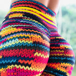 New Original Women Knit Printing Leggings Thick Elastic Female Gymming Workout Sporting Colorful Leggings-geekbuyig