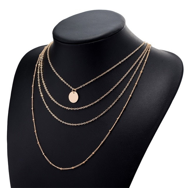 Fashion Multilayer Copper Bead Chain Pendant Necklaces For Women Vintage Charm Choker Necklace Statement Party Jewelry Gift 2018-geekbuyig