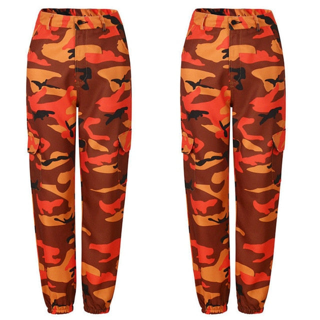 2018 Women High Waist Camouflage Pants Fashion Pantaloon Trouser Ankle-Length Sweatpants Cotton Street wear Camouflage Pants-geekbuyig