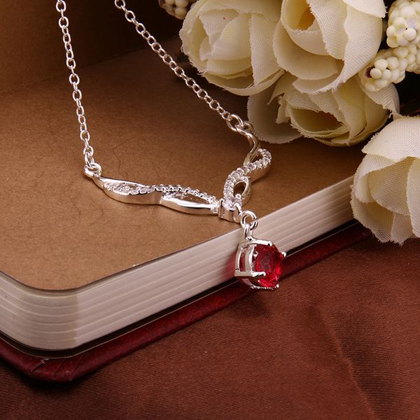 TN13 for kim red zrion round shape shape women 925 silver jewelry lover necklace 45cm chain send with bag hot sell product-geekbuyig
