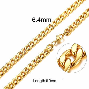 Silver Gold Filled Solid Necklace Curb Chains Link Men Choker Stainless Steel Male Female Accessories Fashion 2018-geekbuyig