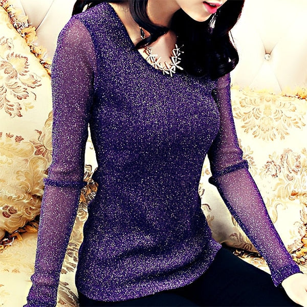 Autumn Long sleeve Shinny T shirt Women Korea Elegant O neck Lurex Tops Ulzzang Mesh Bottoming Shirts-geekbuyig