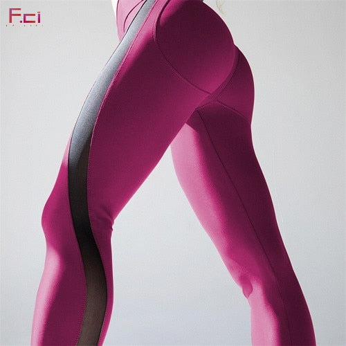 FRECICI Women Sexy Booty Leggings Push Up Pants Side Transparent Leggings See Through Workout Fitness Push Up Pants Slim-geekbuyig