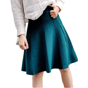 2018 Autumn Winter Knitted Skirt Women Midi High Waist A Line Knit Skirts One-pieces Seamles Pleated Elastic Thick Faldas-geekbuyig