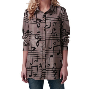 Feitong Brand 2018 New Arrival Clothing Fashion Women Turndown Collar Musical Note Print Long Sleeve Button Shirt T-Shirts Soft-geekbuyig