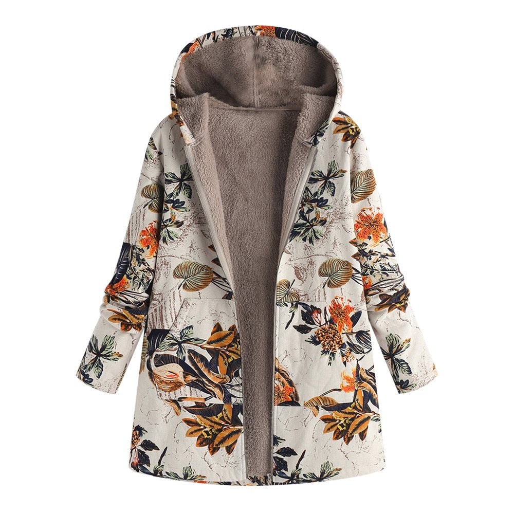 Women Winter Warm Outwear Floral Print Hooded Pockets Vintage Oversize Coats Winter Jacket Women Outwear for Women Winter-geekbuyig