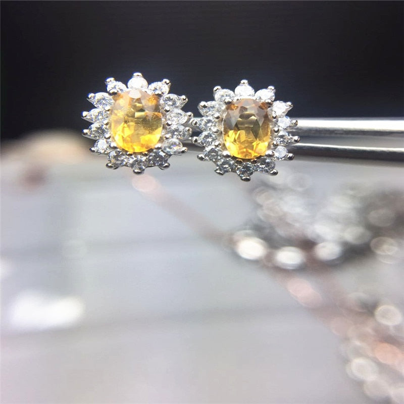 Yellow Stone 3*5mm Citrine Beautiful Stud Earrings for Women Anniversary Silver 925 Gift Female Jewelry-geekbuyig