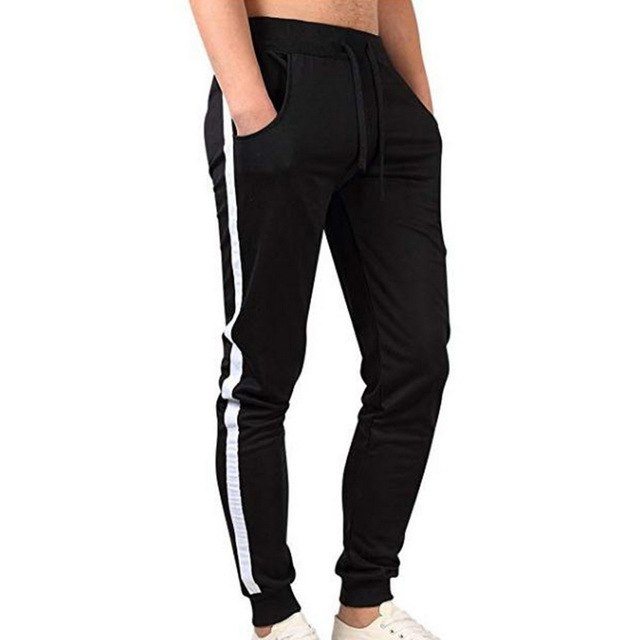 Hot Autumn Men Striped Black Sweatpants Loose Classic Male Black Pants Casual Fashion Breathable Style Trousers Long Pants 2XL-geekbuyig
