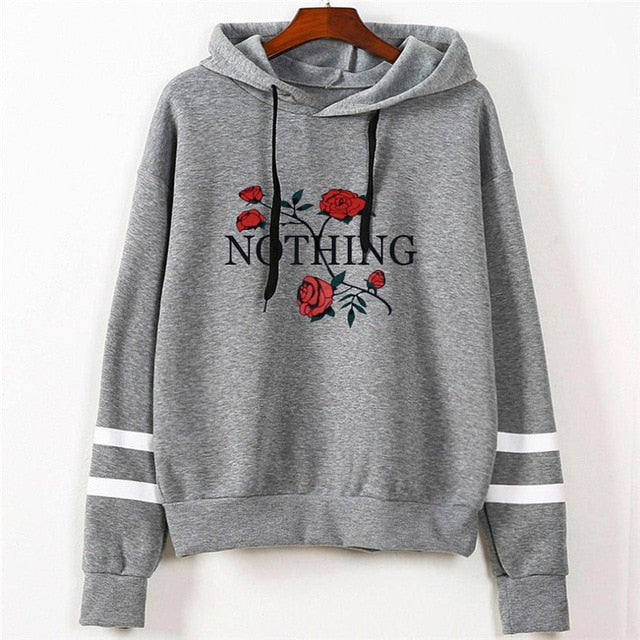 Women's Fashion Sweatshirt Womens Autumn Nothing Print Long Sleeve Hoodie Sweatshirt Jumper Hooded Pullover Tops dropshipping-geekbuyig