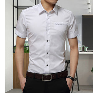 2018 Summer New Men's Shirt Brand Luxury Men Cotton Short Sleeves Dress Shirt Turn-down Collar Cardigan Shirt Men Clothes-geekbuyig