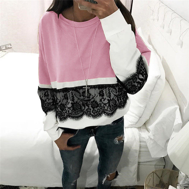 2018 Women Lace Patchwork Printed Long Sleeve Hoodies O-neck Pullovers Autumn Hoodies Sweatshirts-geekbuyig