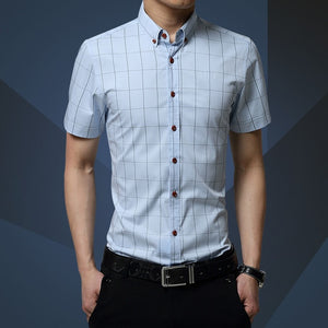 Plus Size 5XL 2018 Summer Fashion Men's Short Sleeve Cotton Social Shirts Plaid Checked Shirt for Men Brand Chothing-geekbuyig