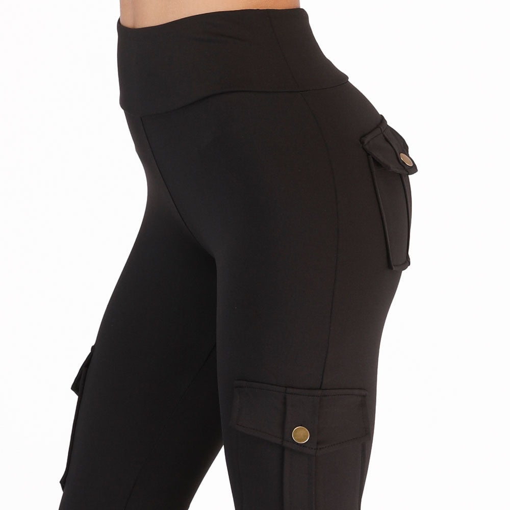 FRECICI High Waist Skinny Cargo Pants For Women Both Side Pocket Leggings Hip Pocket Booty Leggings Workout Sporting Pants-geekbuyig