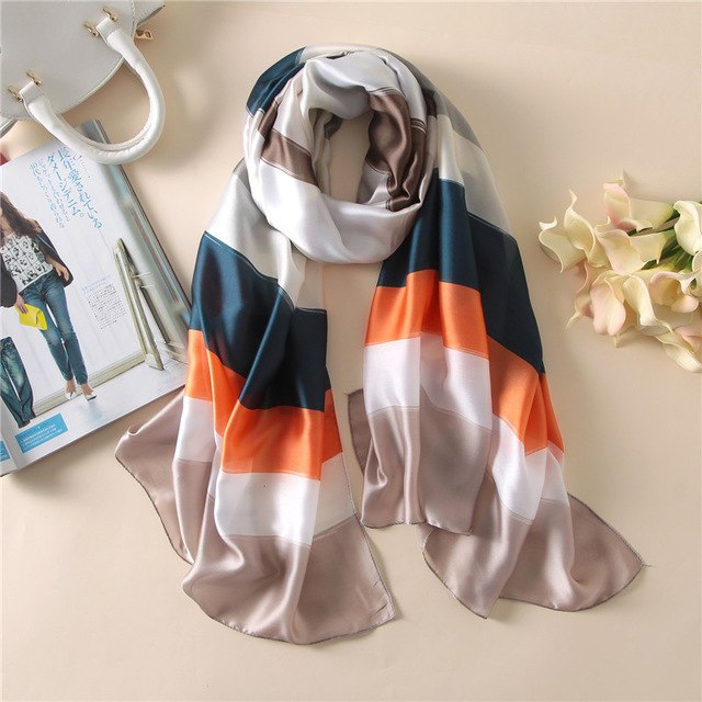 Women Silk Scarf Long Shawl Digital Print Female Foulard Large Stole Blanket Wrap Brand New 180x90cm-geekbuyig