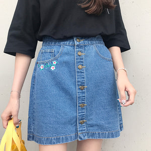 2017 Summer New Cute College Wind High Waist Button Line Flower Embroidered A-line Female Denim Skirts-geekbuyig