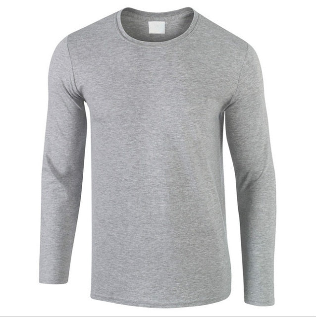 2018 Autumn New 100% Cotton T SHIRT Men, Ultra Low Price Long Sleeved Men's Tshirt High-Quality O-Neck Pure Color Lovers T-shirt-geekbuyig