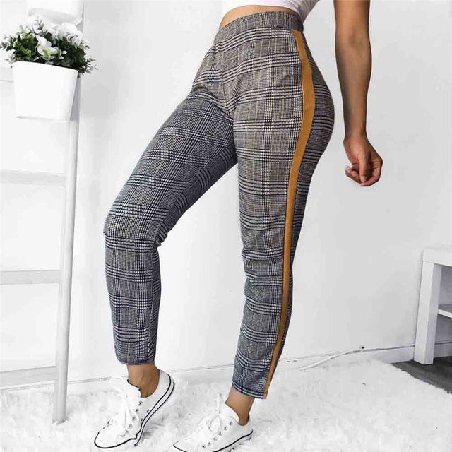 2018 Spring Sweatpants Women Casual Harem Pants Loose Trousers For Women Skinny Plaid Slim Jeggings Pants Female Plus Size-geekbuyig