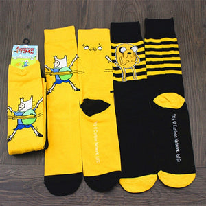 Novelty Anime striped socks funny Cartoon yellow black Men's Unisex Sock Fashion personality high quality chaussettes homme hot-geekbuyig