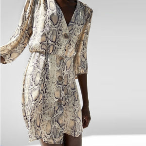Rust Snake Print Plung Neck Wrap Dress Bohemian Beach Vacation Flared Dress Women Autumn Short Casual Elegant Dress-geekbuyig