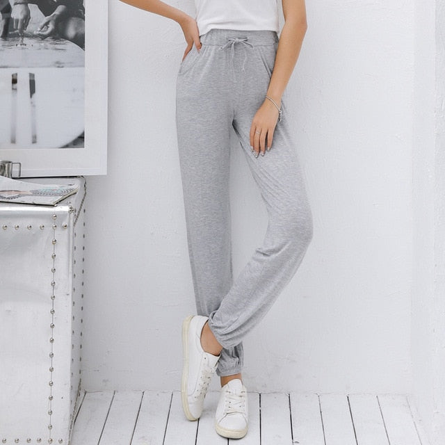 Causal Pants M-XL Women Trousers Drawstring Modal Pants Women Bottoms Pantalon Femme Loose Solid Fashion Homewear Pants Women-geekbuyig