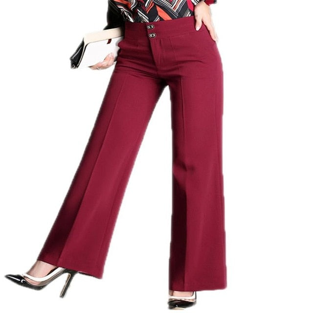 2018 Women New Autumn Fashion Casual Wide Leg Pants Plus Size 4XL Loose Trousers Female High Waist Buttons Office Pants O66-geekbuyig