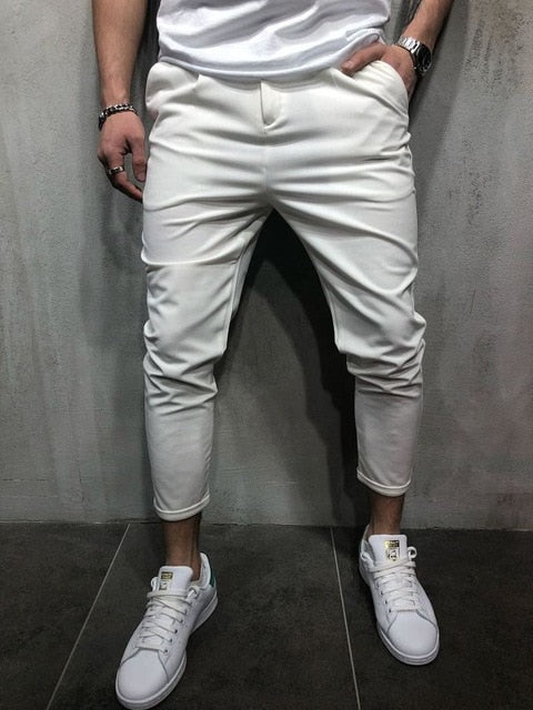 2018 Autumn Winter New Casual Pants Men Cotton Slim Fit Chinos Fashion Trousers Male Brand Clothing Solid Color Pants Plus Size-geekbuyig
