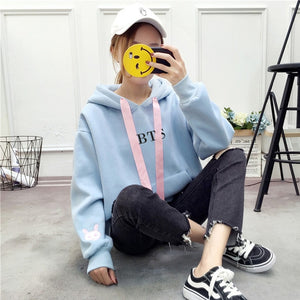 New Fashion BTS EXO Kpop Clothes Women Long Sleeve Kawaii Rabbit Hoodie Sweatshirt Pullover Tops Oversize Female Hoody Sudaderas-geekbuyig