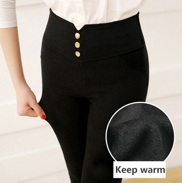 Keep warm winter leggings plus size 40-90kg trousers for women pants Pencil pant High waist fashion Elasticity woman Female pant-geekbuyig