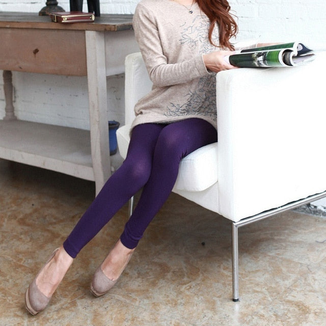 Solid Color Women's Stretch Thicken Leggings Warm Skinny Pants Footless-geekbuyig