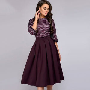 2018 Vintage Lantern Sleeve A-Line Printing Dress Women Elegant O-Neck Half Sleeves Mid-Calf Casual Dress Party Dresses-geekbuyig