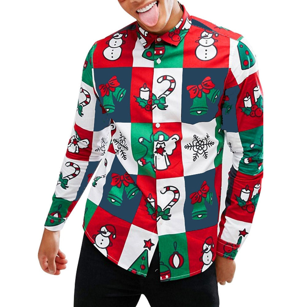 FeiTong Long Sleeve Shirt Men Casual Clothing Snowman Printed Christmas Long Sleeve Slim Top Blouse Male Shirt-geekbuyig