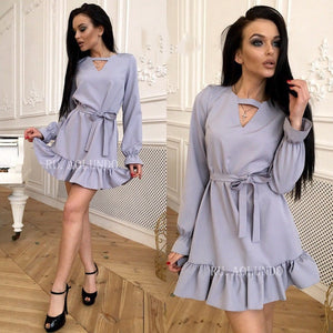 Solid Choker V-Neck Ruffles Autumn Dress Women 2018 Flare Sleeve Sashes Casual Dress Long Sleeve Straight Mini Dresses-geekbuyig