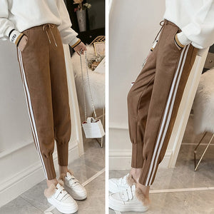 2018 Streetwear Women Pants Elastic High Waist Pockets Suede Harem Pants Casual Autumn Plus Size Trousers Women pantalones mujer-geekbuyig