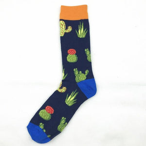 PEONFLY Printing Cartoon Cactus Cute Animals Octopus Penguin Shark Bird Fashion Man Socks Happy Funny Casual Cotton Socks Autumn-geekbuyig