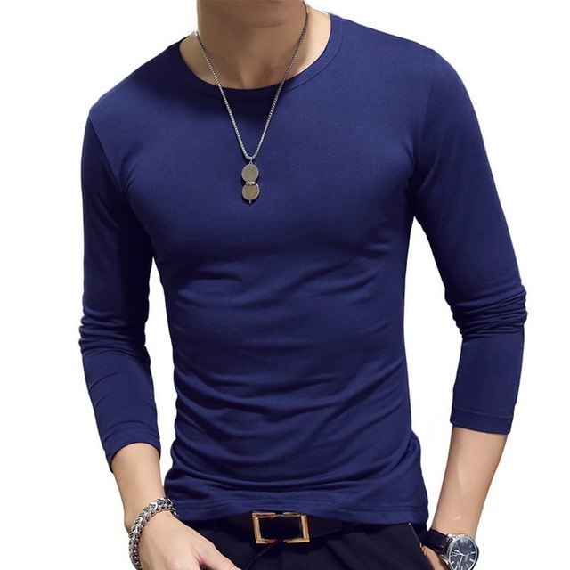 NIBESSER Solid Men Tshirts Men's Slim Long-sleeved T-shirt O-neck Casual Fashion Solid Color Tshirt Male Bottom Streetwear-geekbuyig