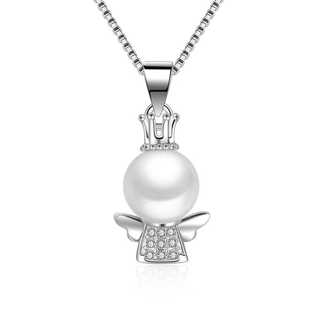 2016 New Arrival Silver Plated Angel Girl Pendant Necklace Wedding Fine Pearl Jewelry-geekbuyig