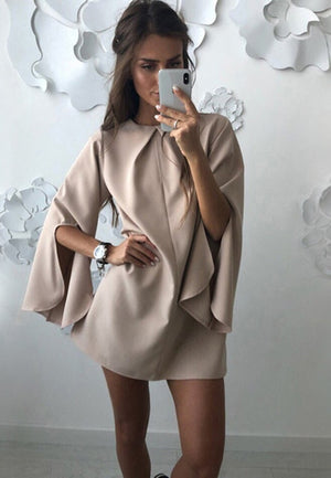 2018 Autumn Sexy Flare Sleeve Draped Loose Dress Women Solid Split O-Neck Casual Long Sleeve Streetwear Mini Dresses-geekbuyig