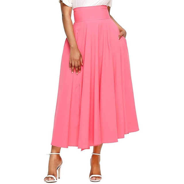 Skirts Women High Waist Autumn Casual Pleated A Line Long Skirt Front Slit Belted with pocket Maxi Skirt Vestido Midi #Z-geekbuyig
