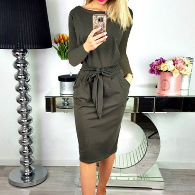Fashion Batwing Sleeve Pocket Sashes Pencil Dress 2018 Autumn Women Long Sleeve O-Neck Casual Loose Bodycon Dress Plus Size-geekbuyig