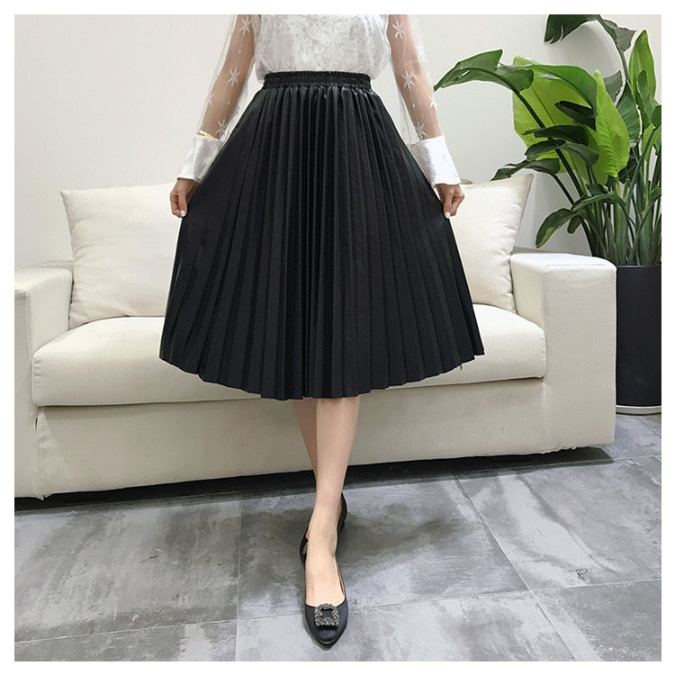 2018 11 11 PU Accordion Pleated Skirt Autumn & Winter New Style Leather Skirt High Waist Faldas Largas Elegantes Free Shipping-geekbuyig