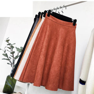 Winter 2018 New Style Suede Skirt Women 5 Colors Available Elegant Vintage All-match Slim High Waist A-line Skirt Free Shipping-geekbuyig
