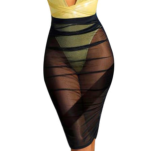 Hot Sale Transparent Skirts Women High Waist Skirt Mesh Pencil Knee Length Skirts A1-geekbuyig